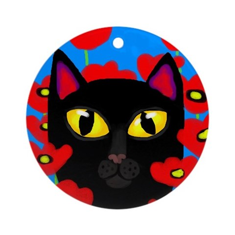 BLACK CAT Ornament Round Cat Round Ornament by CafePress
