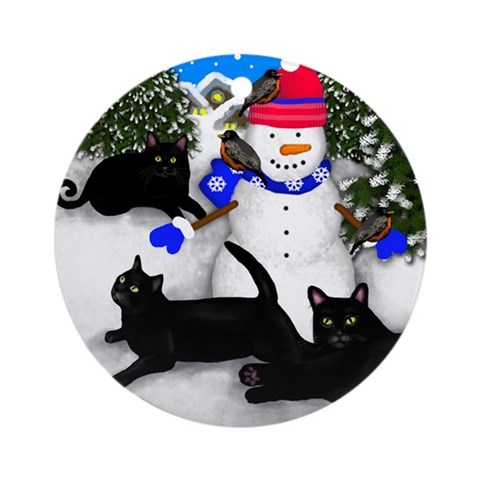 Black Cat Snowman Ornament Round Cats Round Ornament by CafePress