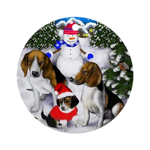 Beagle Family Ornament Round Dog Round Ornament by CafePress