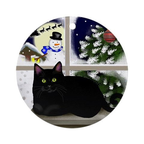Black Cat Snowman Ornament Round Cat Round Ornament by CafePress
