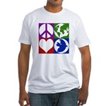 Peace, Earth, Love, Dove (Fitted T-Shirt)