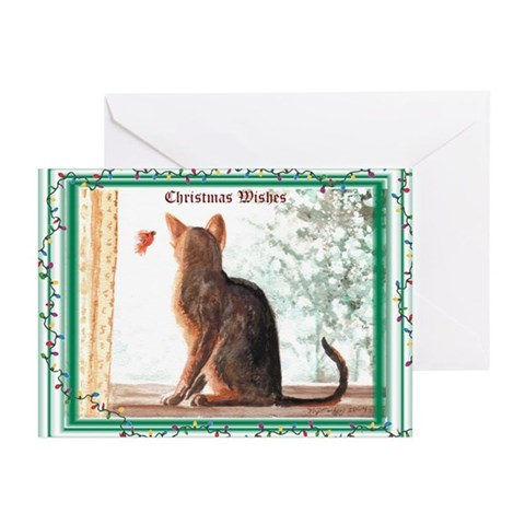 Abyssinian Christmas Wishes Cards Pk of 10 Christmas Greeting Cards Pk of 10 by CafePress