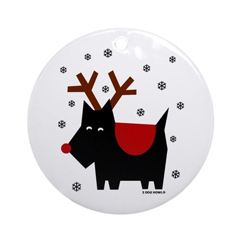 SCOTTIE REINDEER Ornament Round Dog Round Ornament by CafePress