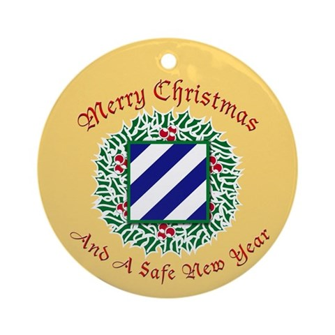 Merry Xmas Ornament Round Army Round Ornament by CafePress