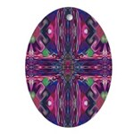 """Magenta """"Stained Glass"""" Cross Ornament (Oval)"""