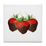 Chocolate Strawberry Trio Tile Coaster