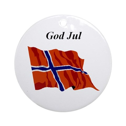 Christmas Flag Flag Round Ornament by CafePress