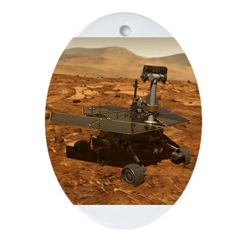 Mars Rover Astronomy Christmas Tree Ornament-Oval Christmas Oval Ornament by CafePress