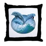 Waves of Dolphins Throw Pillow