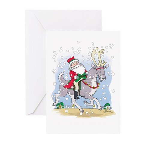 Santa Dressage Xmas Cards Pk of 10 Friends Greeting Cards Pk of 10 by CafePress