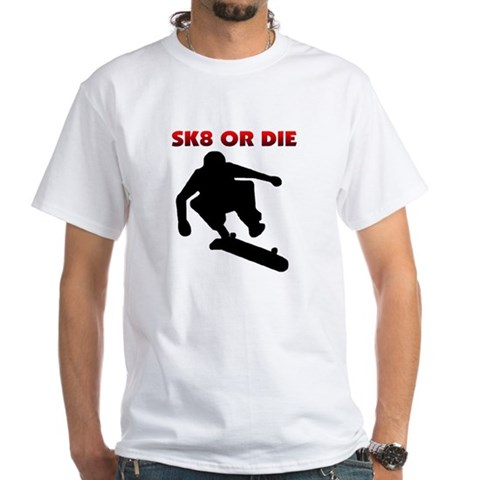 Sk8 Skate board Sports White T-Shirt by CafePress