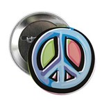 Colorful Peace Sign (metal pinback button)