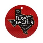 Texas Teacher Round Ornament