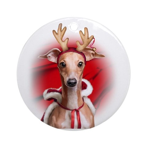 Italian Greyhound Reindeer Ornament Round Round Ornament by CafePress