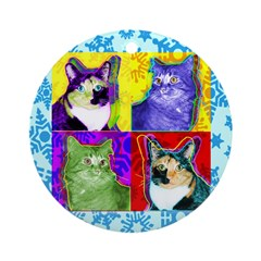Cool Cat Art Round Ornament