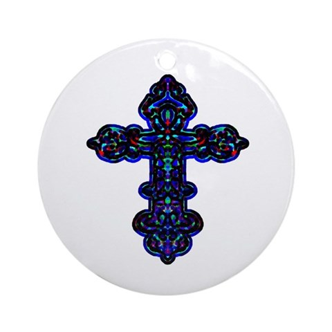 Ornate Cross Ornament Round Easter Round Ornament by CafePress