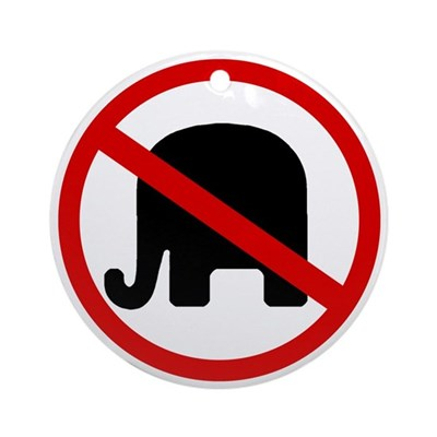 No GOP Elephants! (Round Ornament)