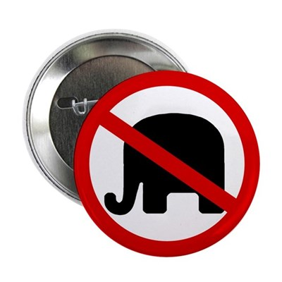 Red Slash Through a GOP Elephant (Button)