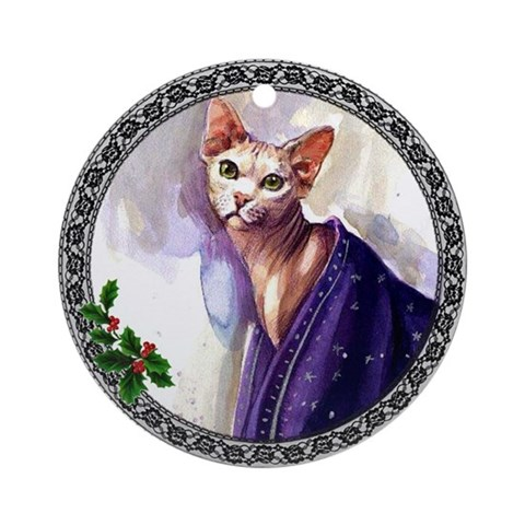 Sphynx Cat Ornament Round Cat Round Ornament by CafePress