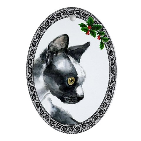 Devon Rex Cat Cat Oval Ornament by CafePress