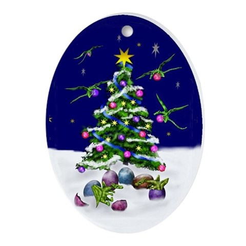 Dragon and Xmas tree Tree Oval Ornament by CafePress