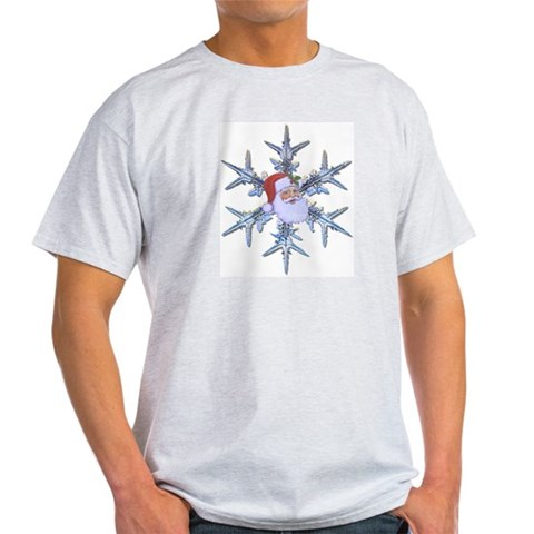 Snow Santa Ash Grey T-Shirt Holiday Light T-Shirt by CafePress