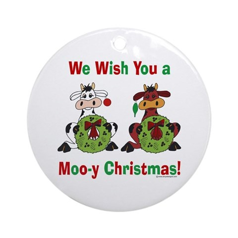 Cow Ornament Round: Moo-y Christmas Christmas Round Ornament by CafePress