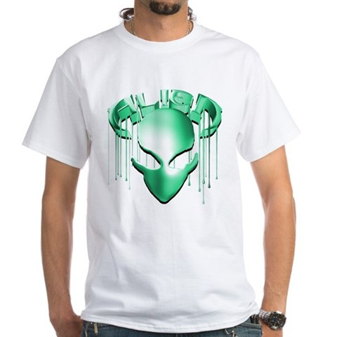 Product Image of Alien with Logo Molten Teal White T-Shirt