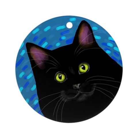 BLACK CAT CHRISTMAS Ornament Round Cat Round Ornament by CafePress