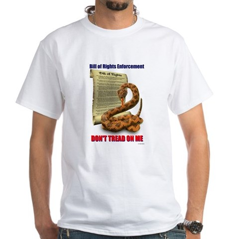 Bill of Rights Enforcement T-Shirt World White T-Shirt by CafePress