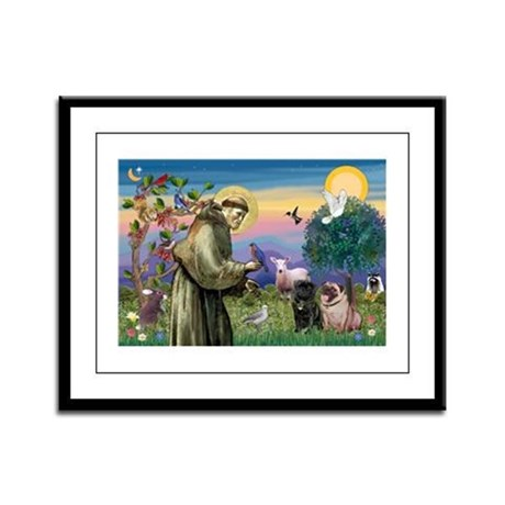 Saint Francis & Two Pugs Framed Panel Print