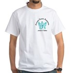 Ovarian Cancer Butterfly 6.1 White T-Shirt