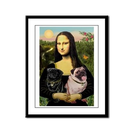 Mona's 2 Pugs Framed Panel Print