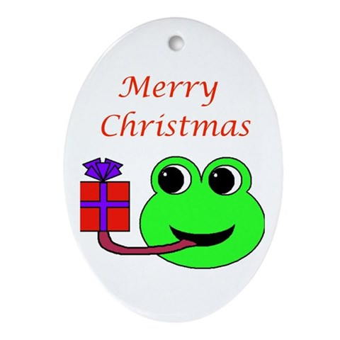 MERRY CHRISTMAS FROG Stocking stuffers Oval Ornament by CafePress