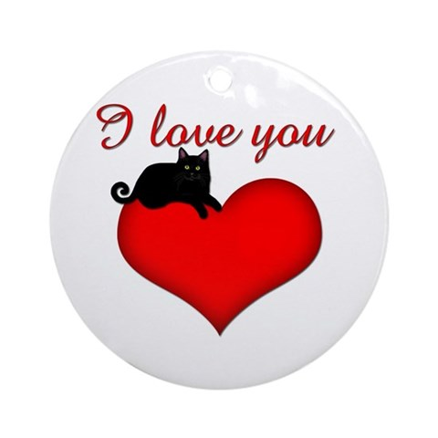 I Love you black cat Ornament Round Cat Round Ornament by CafePress