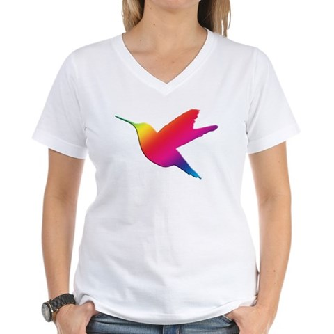 Rainbow Hummingbird  Rainbow Women's V-Neck T-Shirt by CafePress