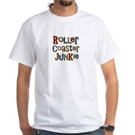 Roller Coaster Junkie Fanatic White T-Shirt