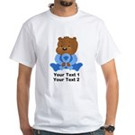 Light Blue Awareness Bear White T-Shirt
