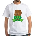 Green Awareness Bear White T-Shirt