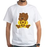 Yellow Awareness Bear White T-Shirt