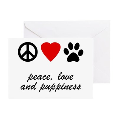 Peace, Love, Puppiness Greeting Card