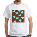brown background with light blue hearts T-Shirt