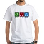 Peace Love Cross Stitch White T-Shirt