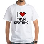 I Love Train Spotting Digital Design T-Shirt