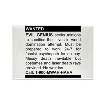 Evil Genius Personal Ad Rectangle Magnet | Gifts For A Geek | Geek T-Shirts