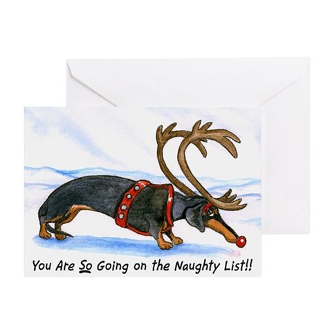 Buy naughty e greeting cards - Naughty Dachshund Christmas card