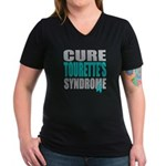Cure Tourette's Women's V-Neck Dark T-Shirt