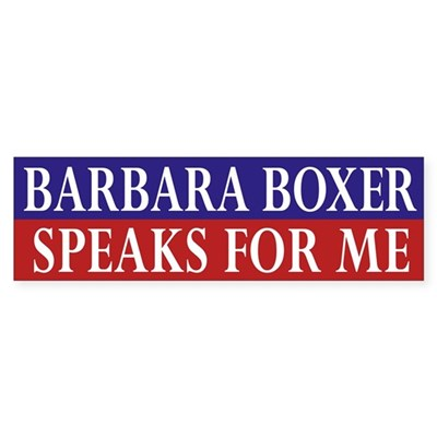 Barbara Boxer Speaks for Me car sticker