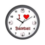 I Love Baseball Wall Personalized baseball clock for baseball players and fans.