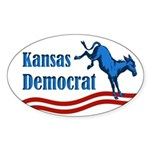 Kansas Democrat Oval Bumper Sticker